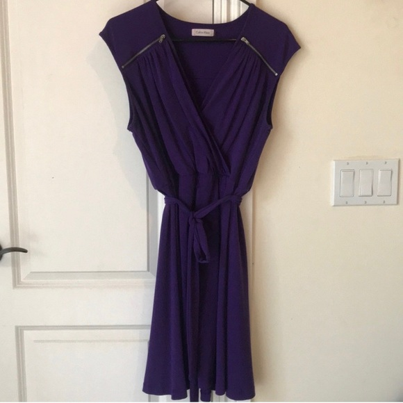 Calvin Klein Dresses & Skirts - Purple Calvin Klein Dress with Silver Zippers